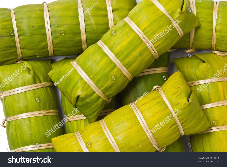 thai style banana leaf wrapped food stock photo 87613315. Black Bedroom Furniture Sets. Home Design Ideas
