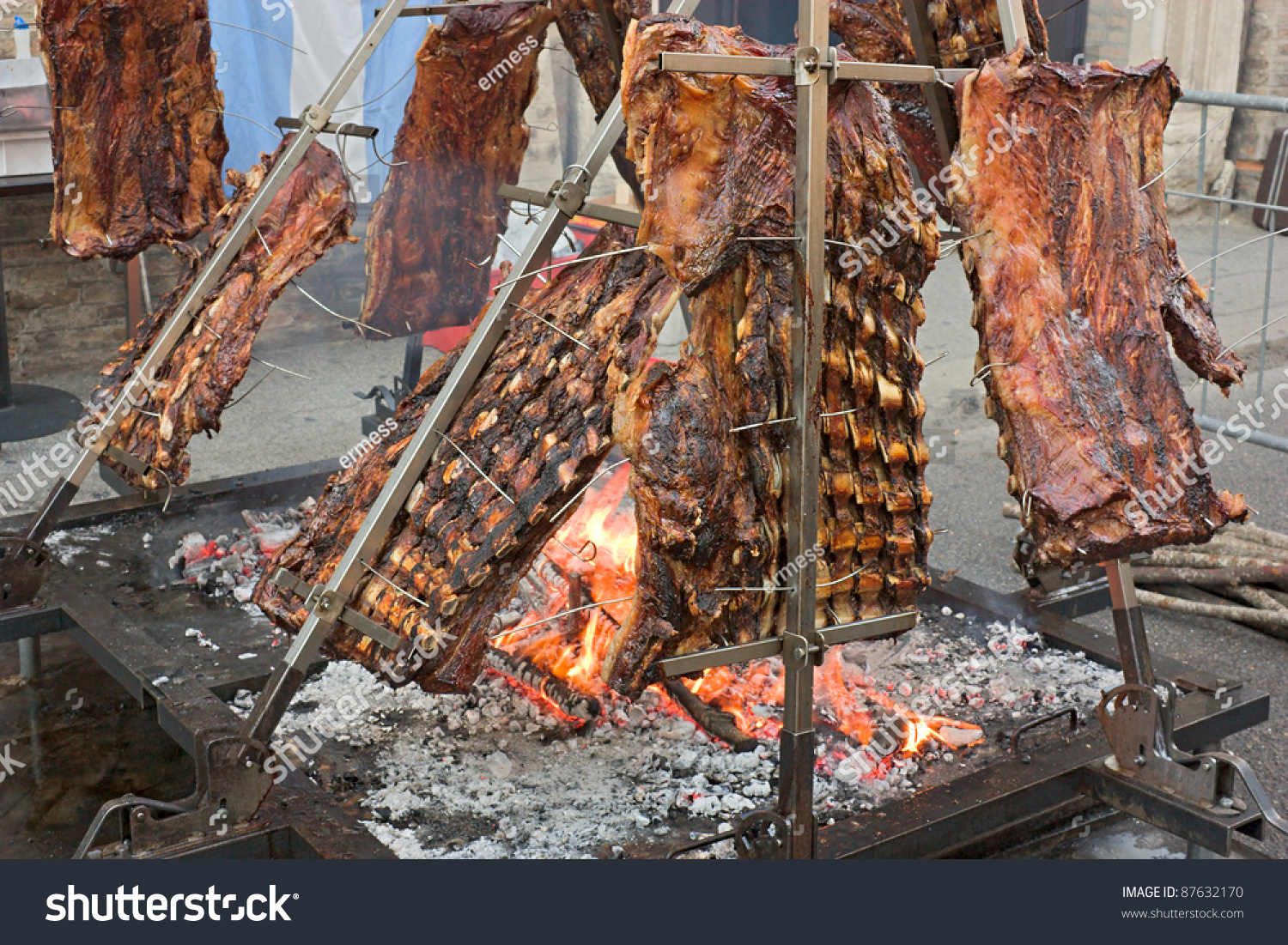 Asado traditional dish argentina roasted meat stock photo - Barbecue argentin ...