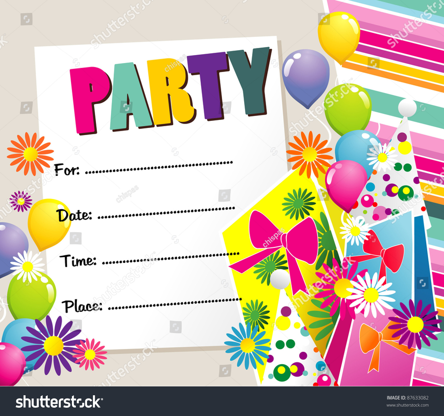 Happy Birthday Party Invitation Stock Vector 87633082 : Shutterstock