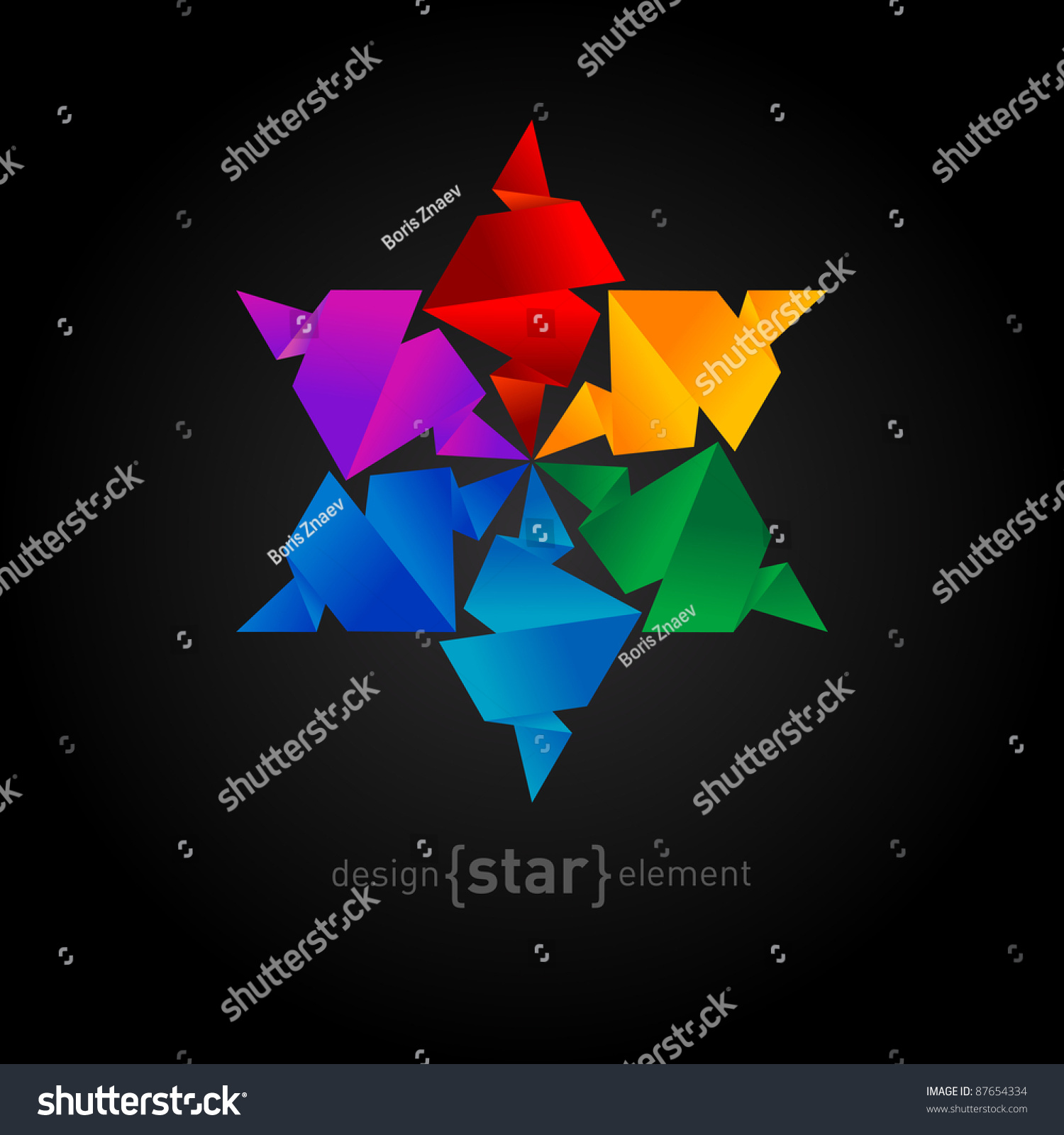 Vector Rainbow Origami Star On Black Background. Company ... - photo#15