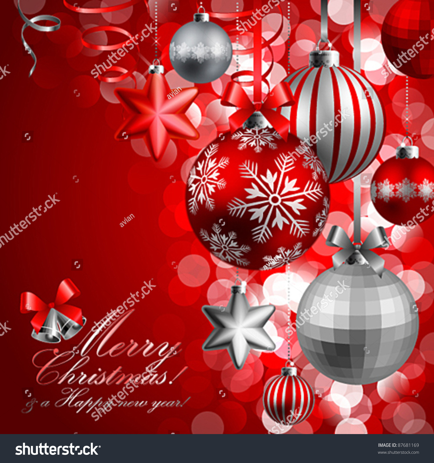 Christmas Background Red Silver Baubles Vector Stock Vector ...