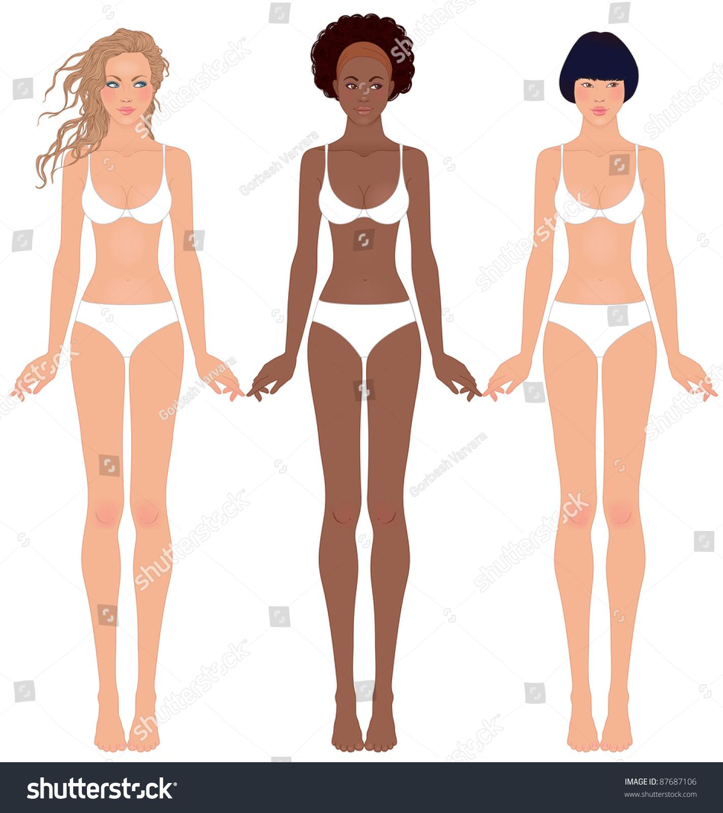 Three Pretty Teen Girls Different Ethnic Stock Vector 87687106 ...