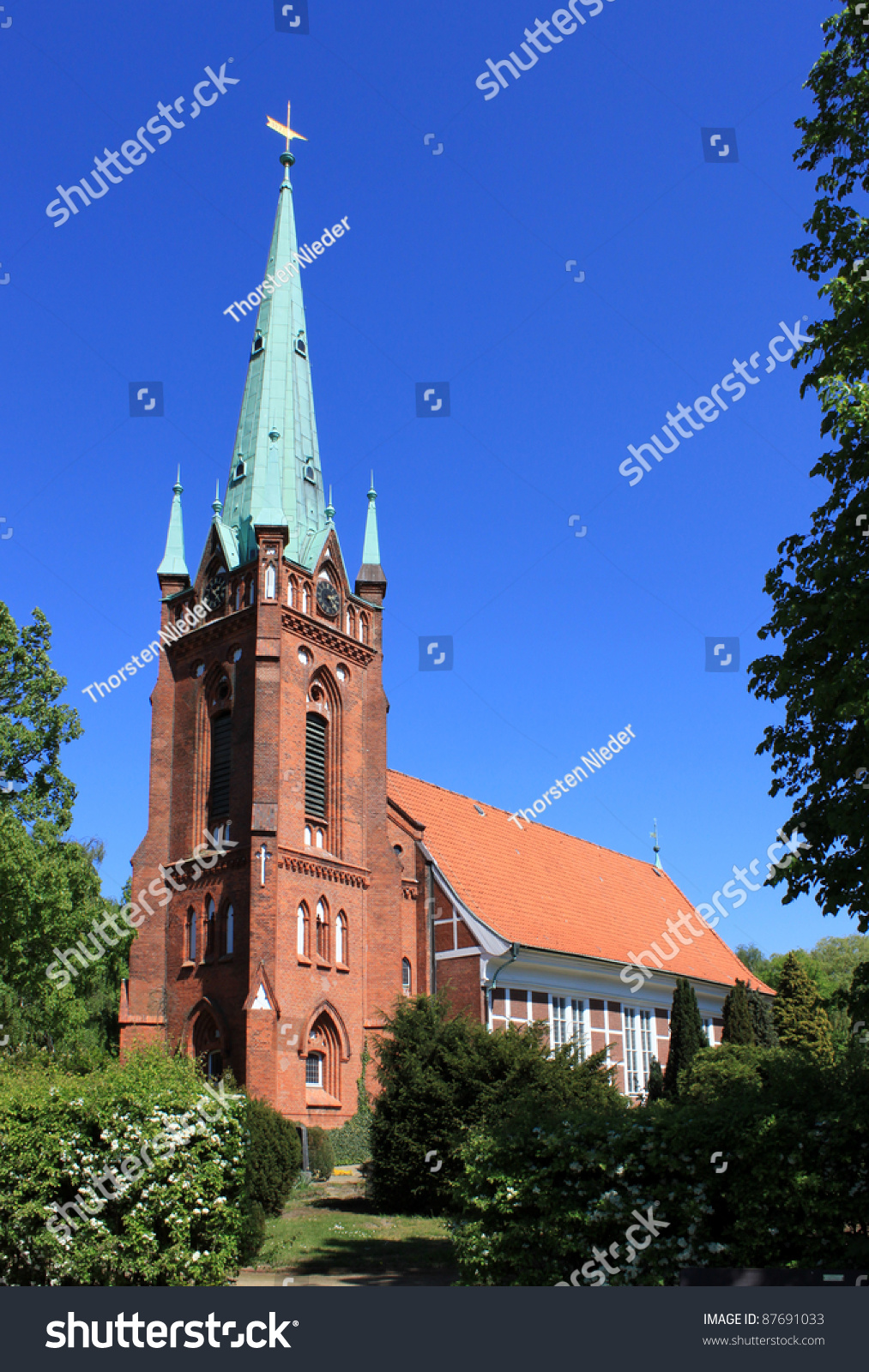 st nikolai kirche in hamburg moorfleet stock photo 87691033 shutterstock. Black Bedroom Furniture Sets. Home Design Ideas