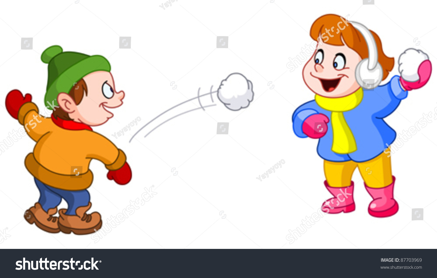 Kids Throwing Snowballs Each Other Stock Vector 87703969