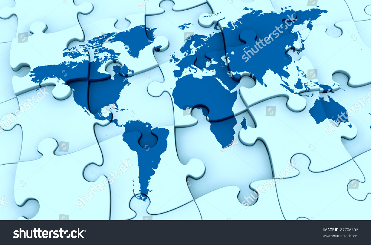 One puzzle made world map pieces stock illustration 87706306 one puzzle made with the world map the pieces are not all in the right gumiabroncs Gallery