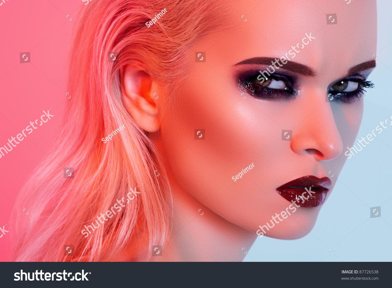 punk rock style or halloween makeup fashion woman model