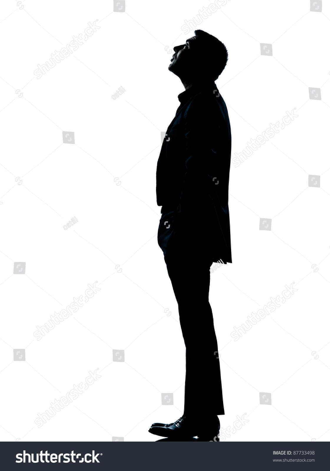 Man standing up sideways one caucasian business man silhouette