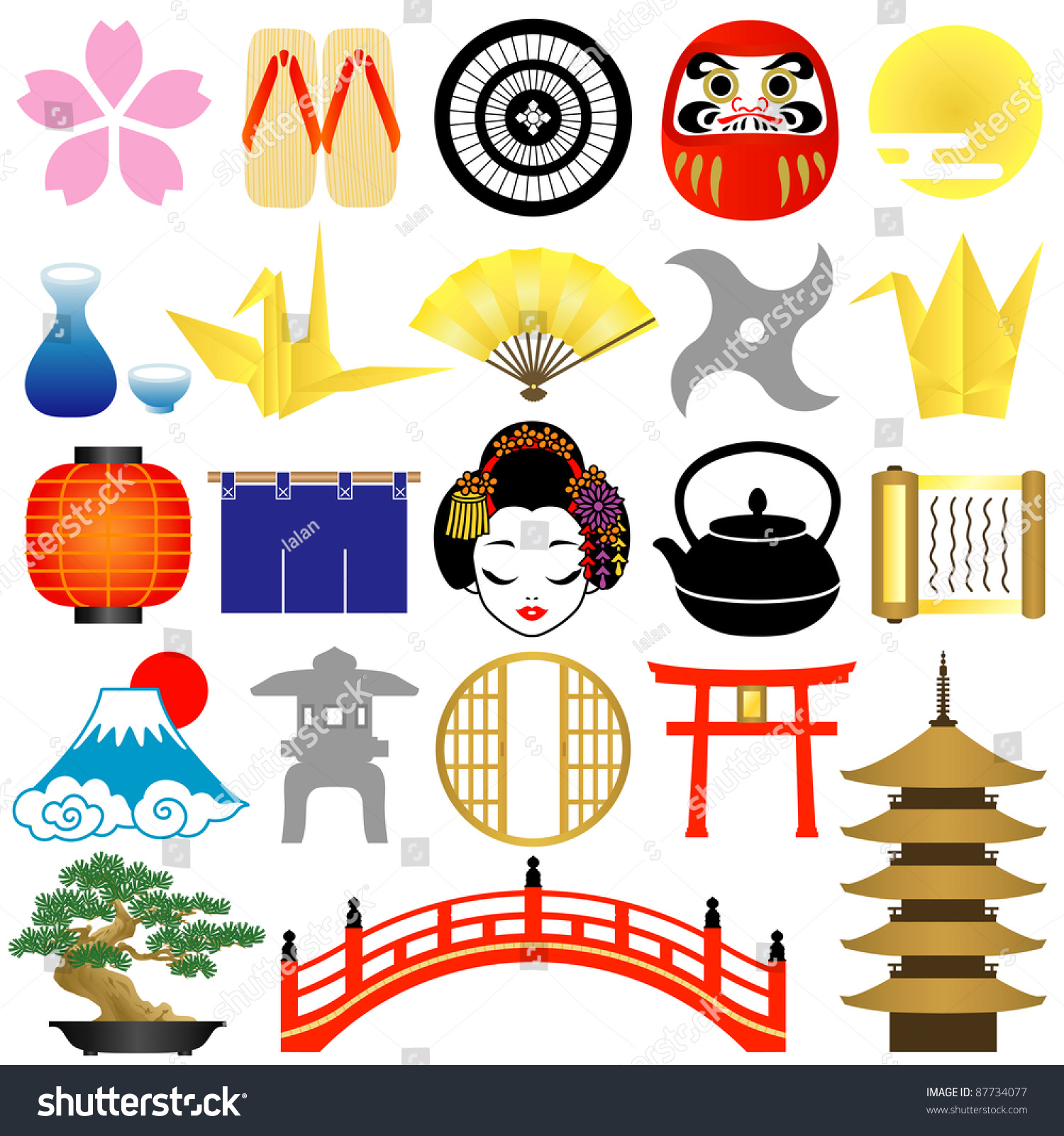 japanese icons stock vector 87734077 shutterstock. Black Bedroom Furniture Sets. Home Design Ideas