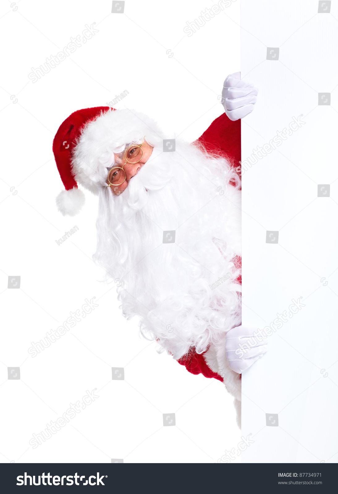 Happy santa claus christmas blank banner stock photo