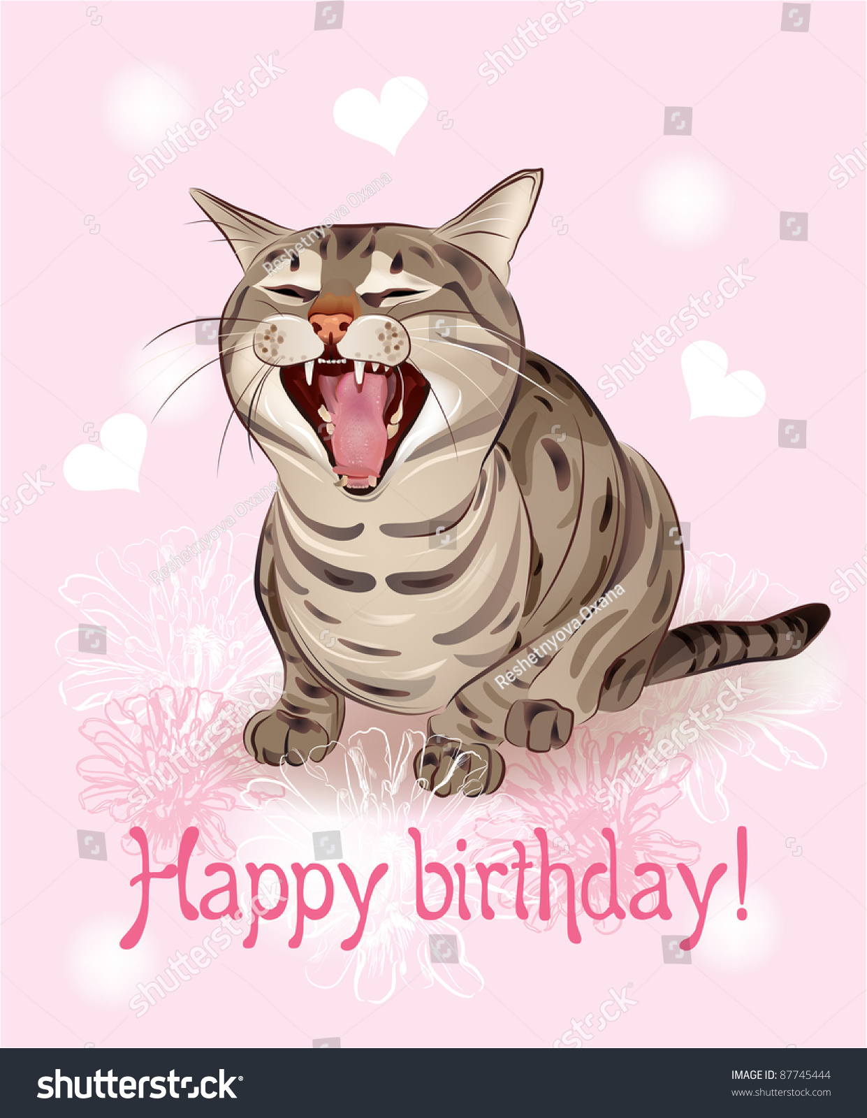 happy birthday card funny cat sings stock illustration, Birthday card