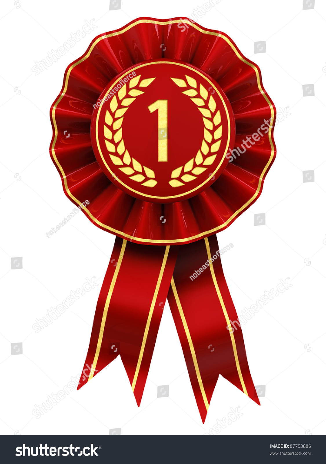 first place winner   red and gold rosette   isolated on