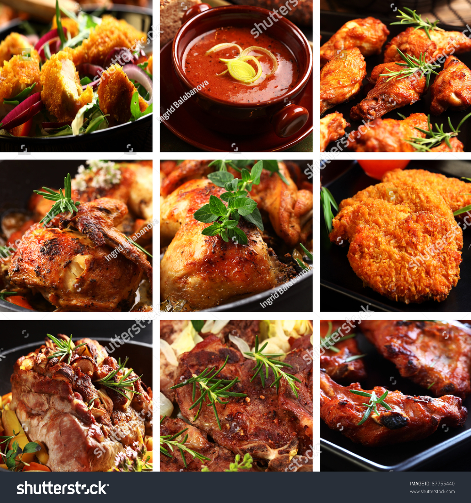 collection different meat dishes soup schnitzel stock