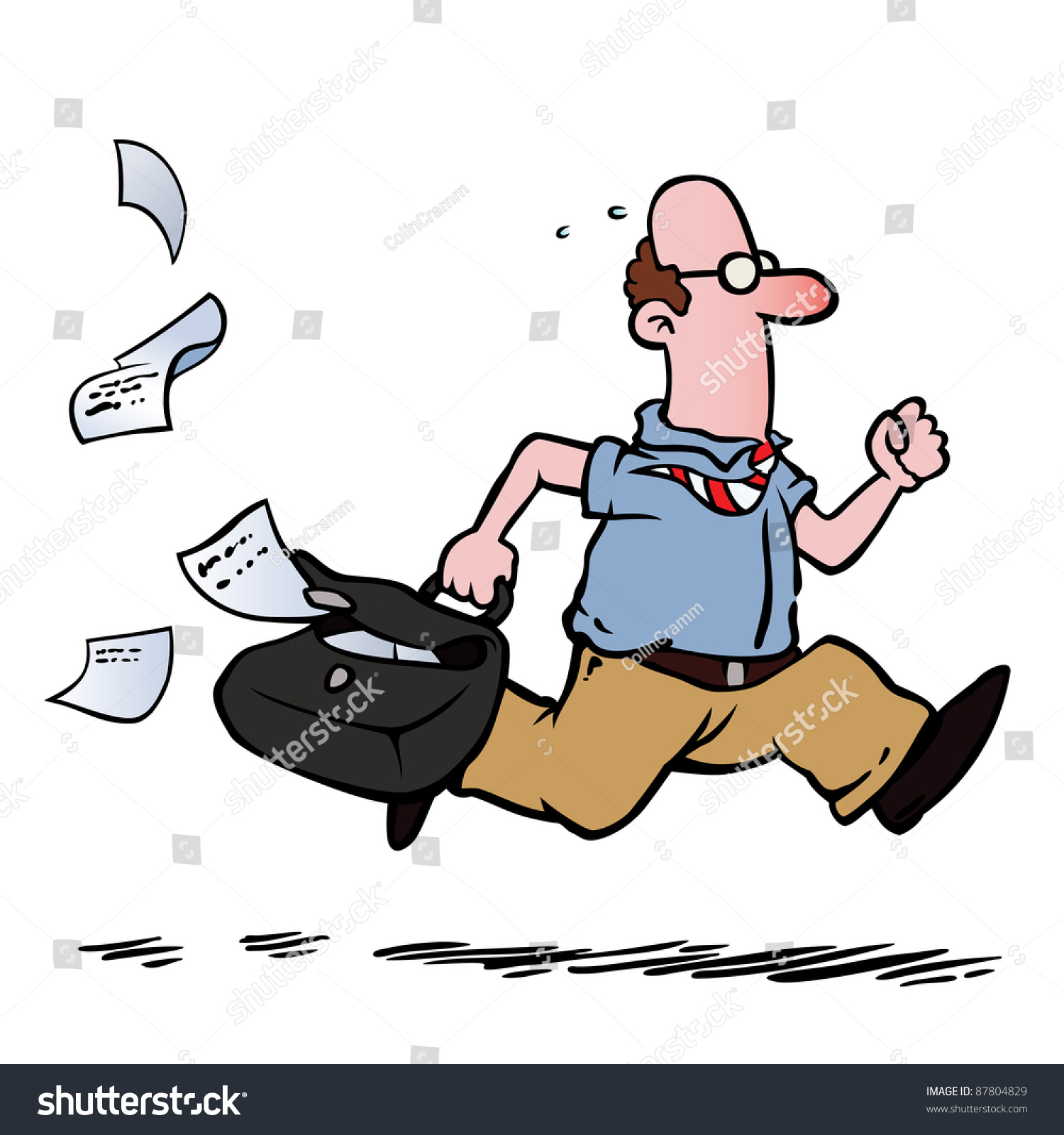 Business Man Employee Running Late Work Stock Vector (Royalty Free ...