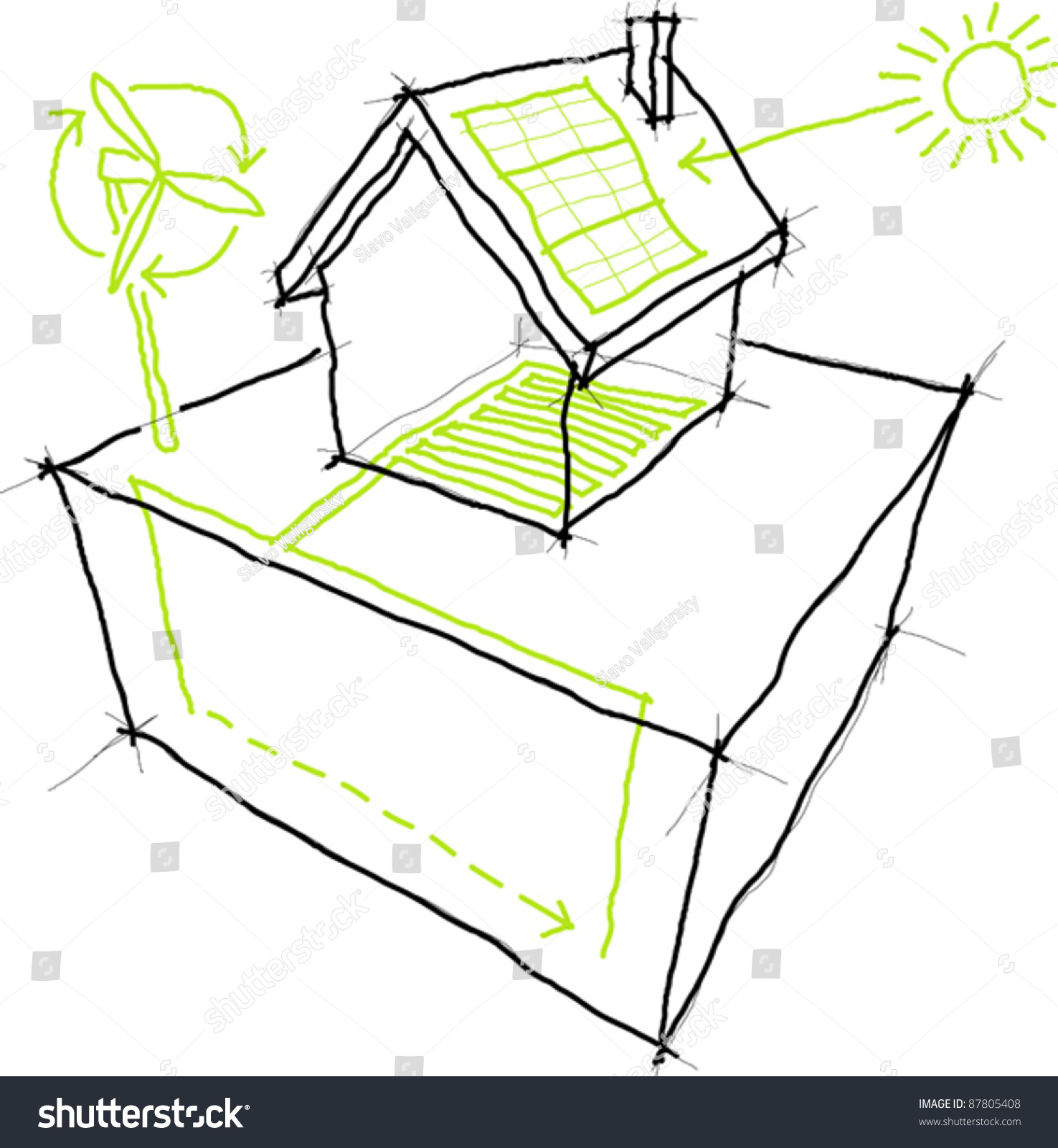 Solar Collector Energy Diagram Manual Guide Wiring Vacuumevacuatedtubediagram Sketches Sources Renewable Wind Turbine Stock Vector 87805408 Shutterstock Heating System Spain