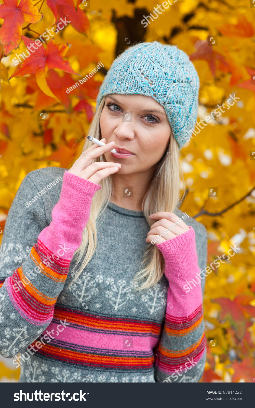 cute teen girl smoking cigarette outside stock photo. Black Bedroom Furniture Sets. Home Design Ideas
