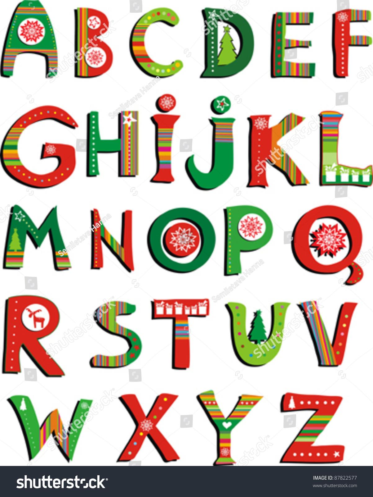 Abc Colorful Christmas Alphabet Isolated On Stock Vector 87822577 ...