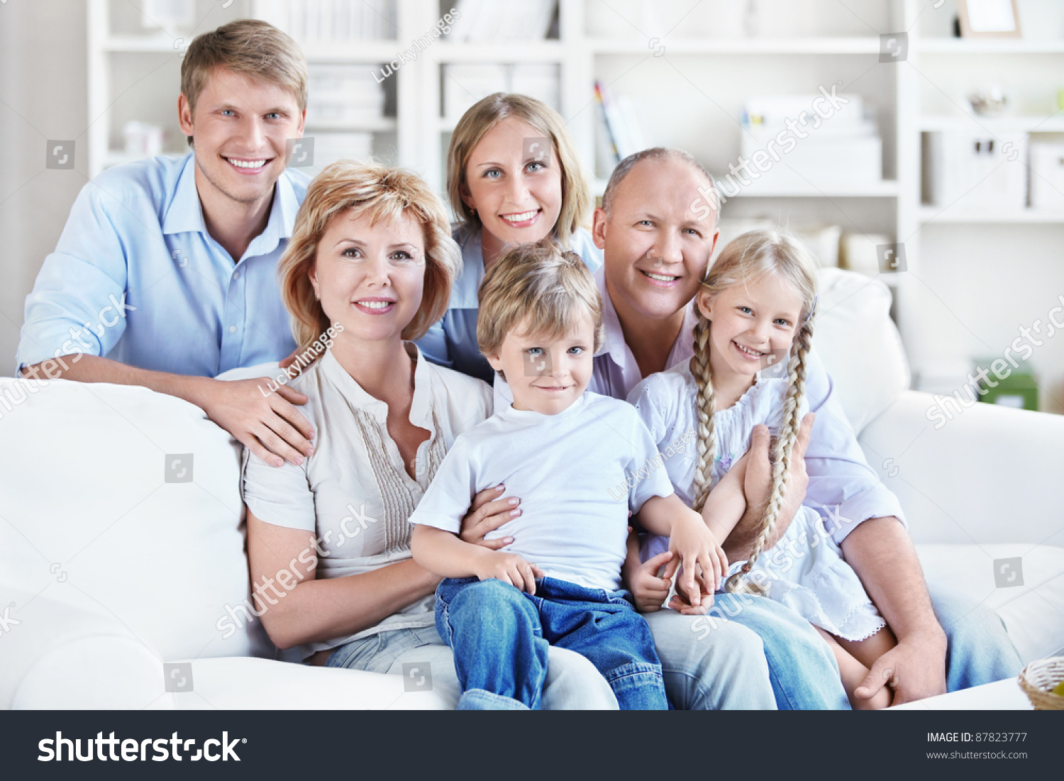 Happy big family home stock photo 87823777 shutterstock for Family home