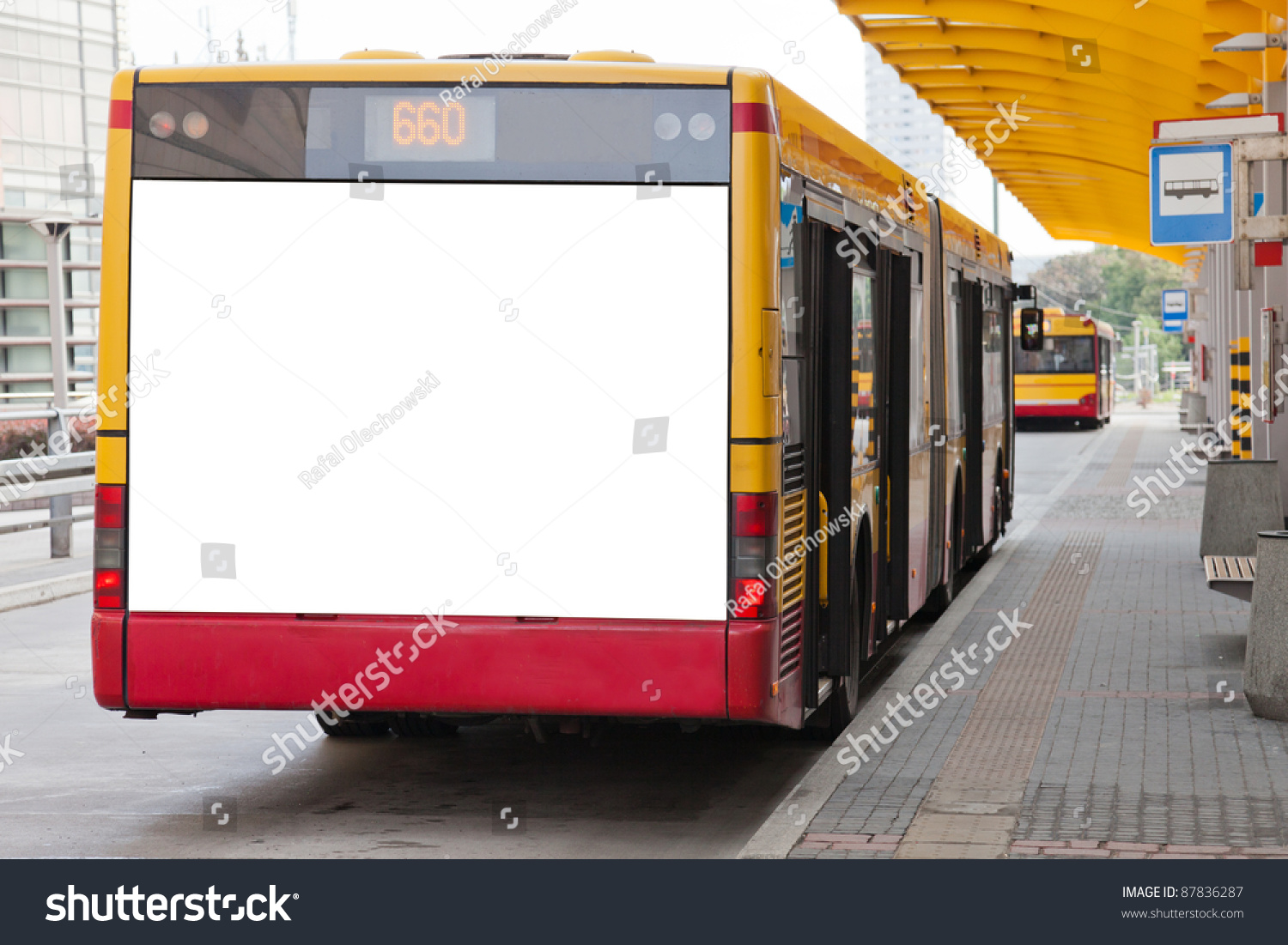 Blank Billboard On Back Bus Your Stock Photo 87836287 ...