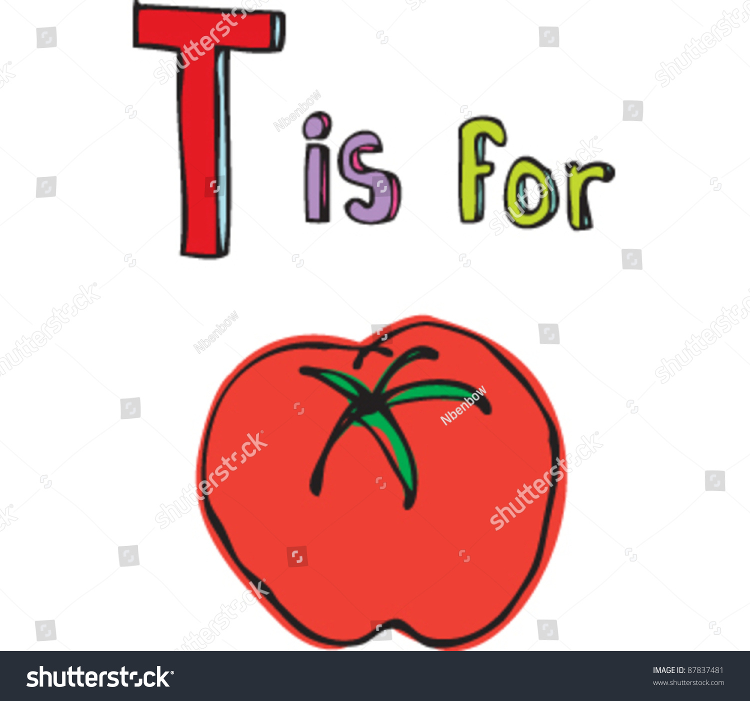 drawing of letter t is for tomato