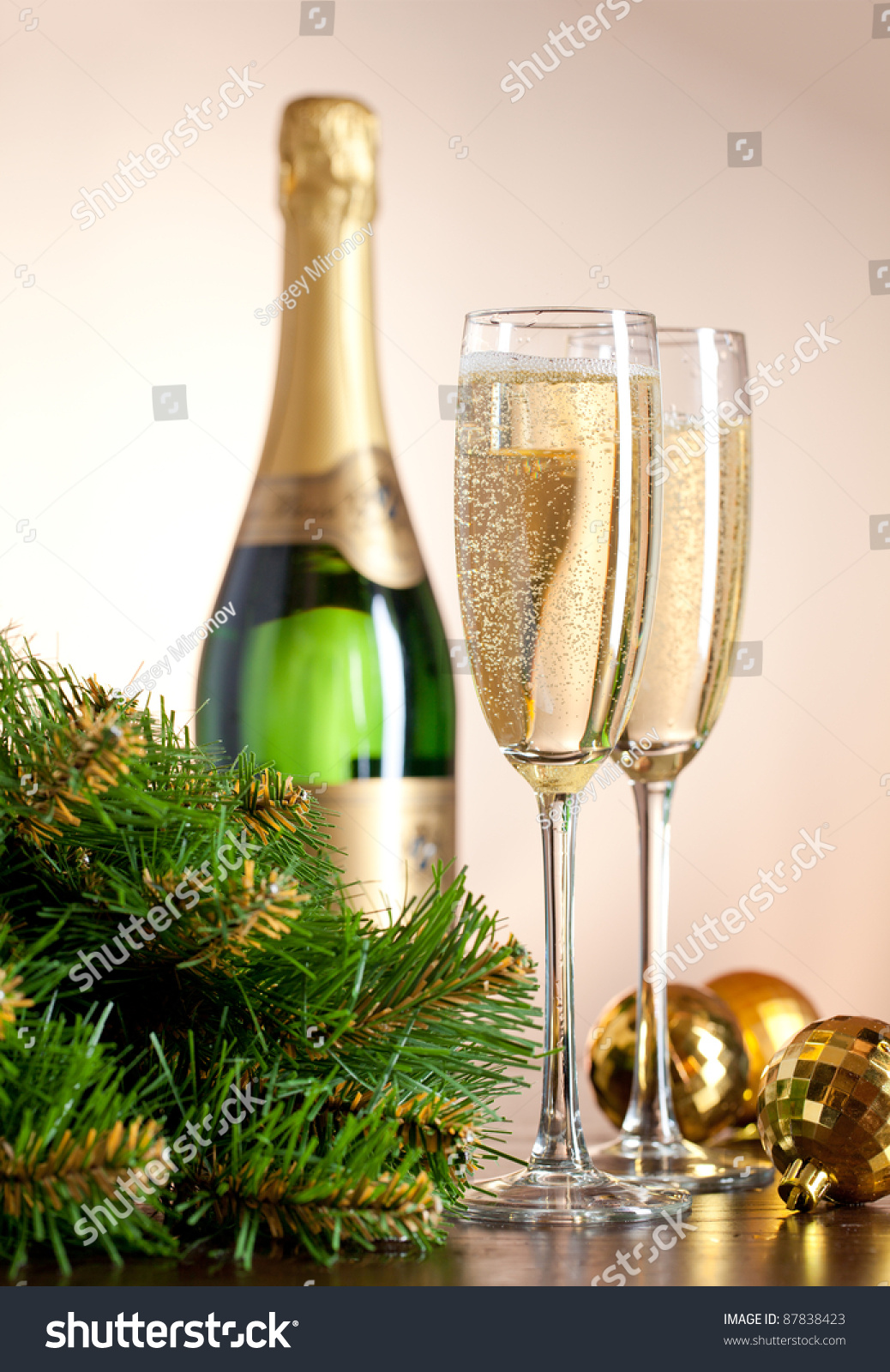 Two full glasses of champagne over color background | EZ Canvas