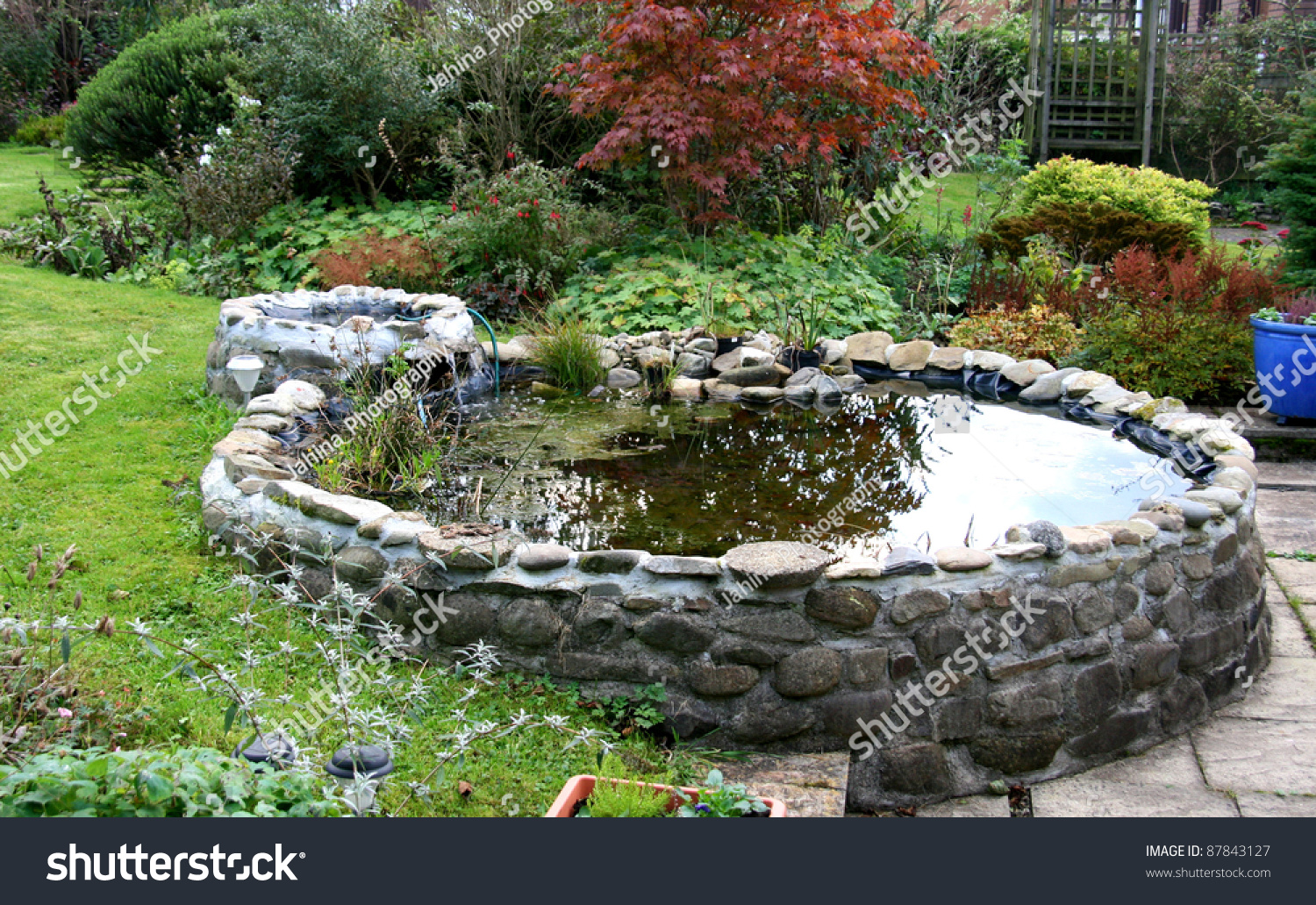 Garden pond small trickle waterfall stock photo 87843127 for Garden pond design software free download