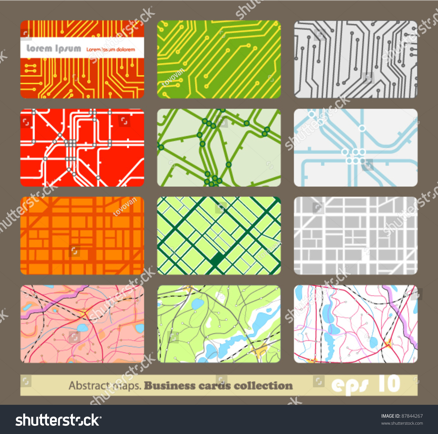Set Different Business Cards Abstract Maps Stock Vector 87844267 ...