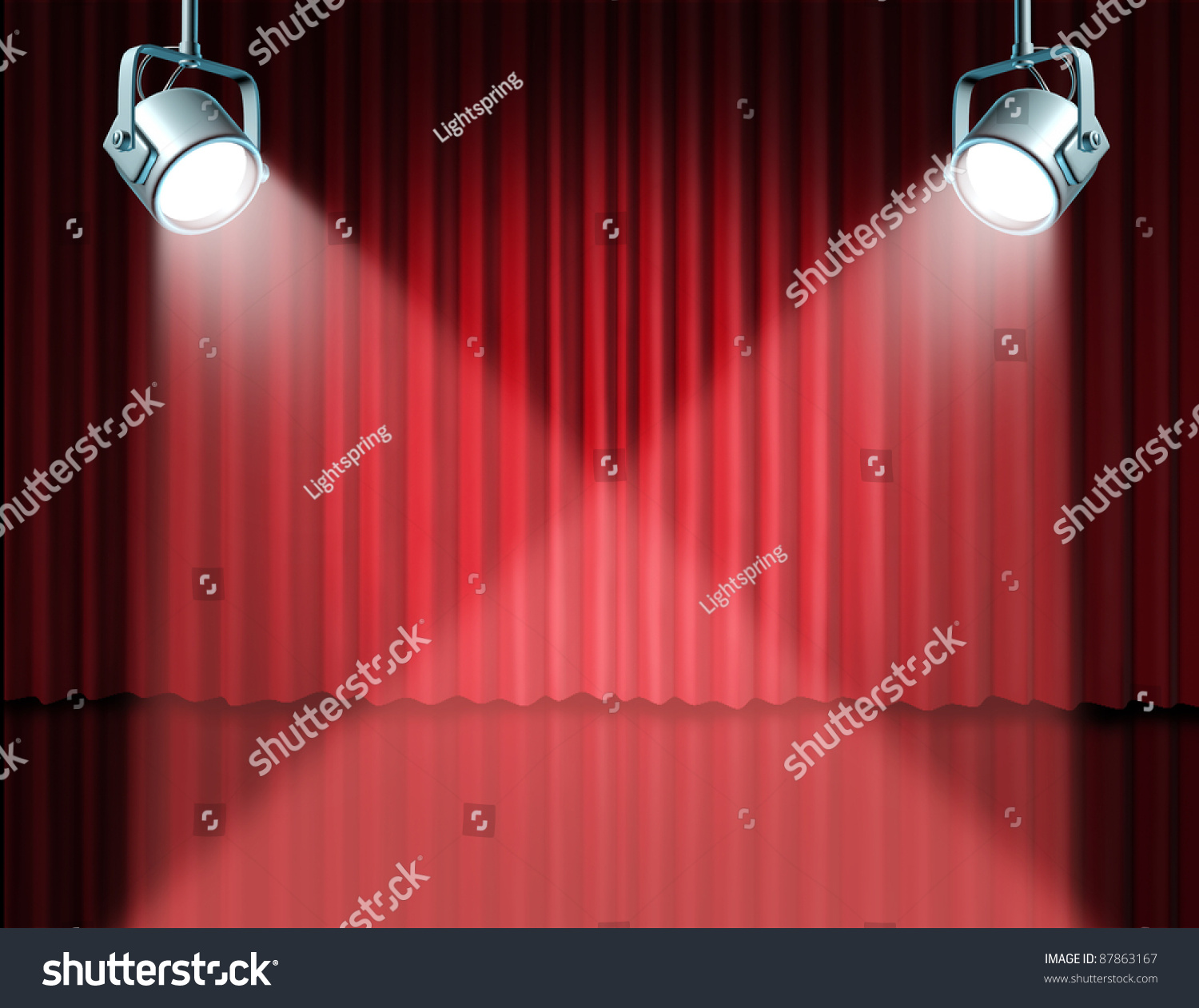Red stage curtain with lights - Stage Curtains Spotlight In The Spotlight Featuring On Stage With Glowing Lights On Red Velvet