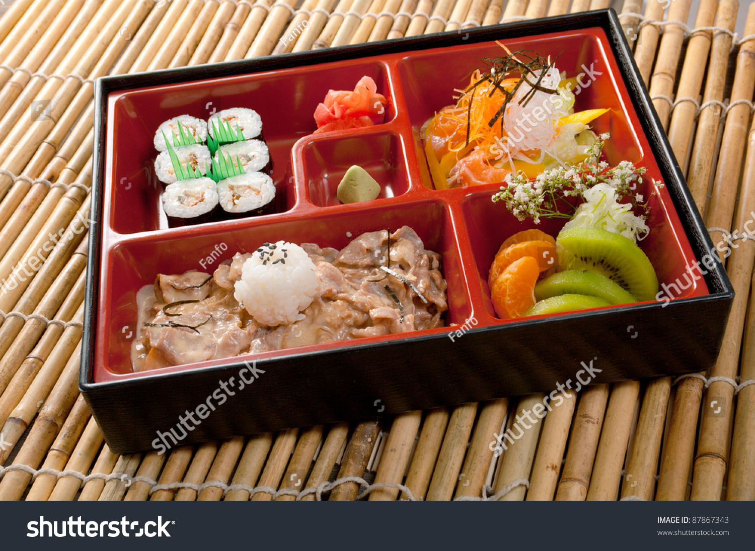 japanese bento lunch box of fast food with with pork stock photo 87867343 shutterstock. Black Bedroom Furniture Sets. Home Design Ideas