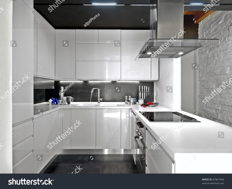 White modern kitchen with steel appliances stock photo 87867946 shutterstock - Modern kitchen with white appliances ...