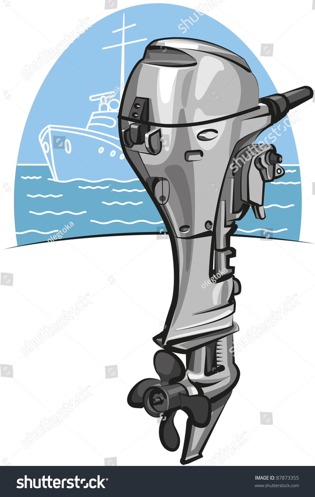 Outboard Boat Motor Stock Vector Illustration 87873355