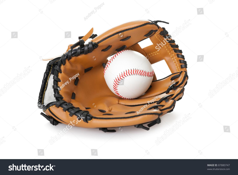 Image of baseball inside glove isolated on white background #87880747