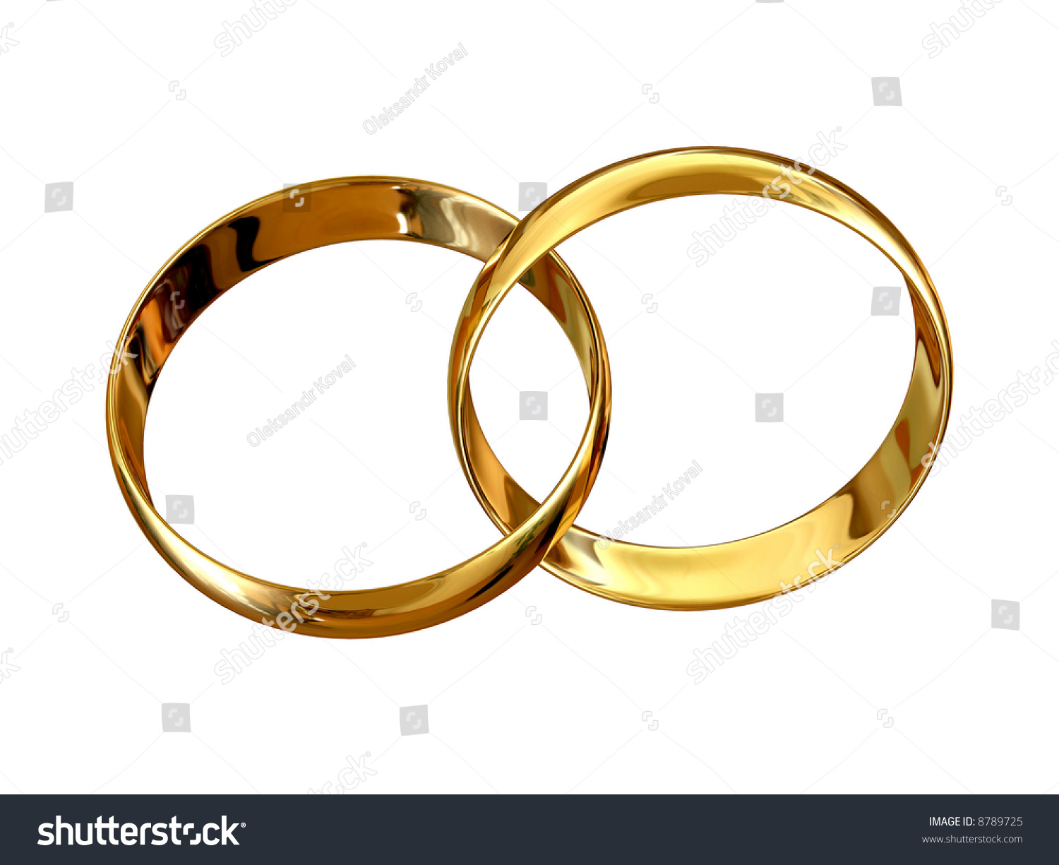 Golden Wedding Rings Connected Wedding Symbol Stock Illustration