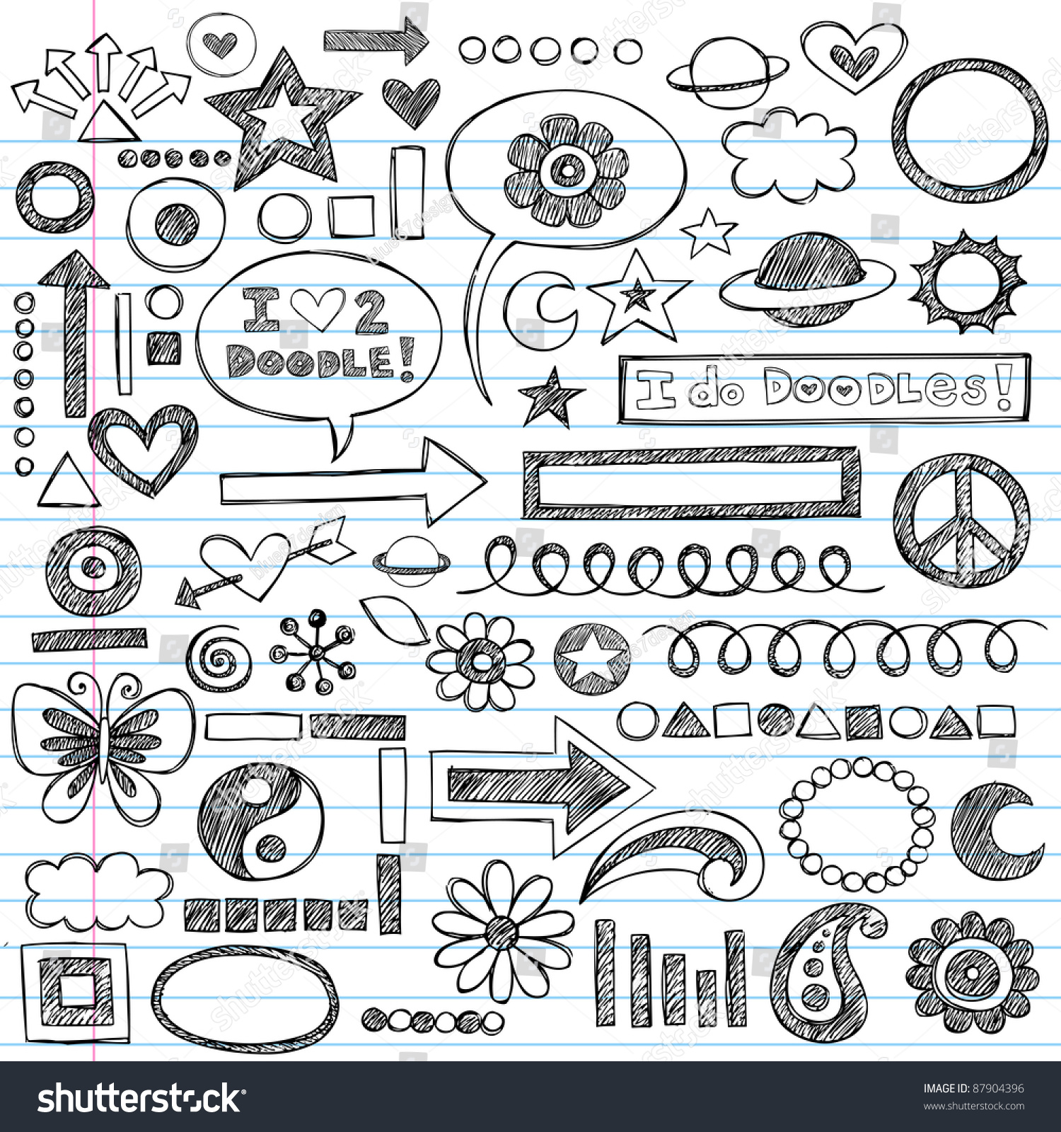 Sketchy notebook doodles set handdrawn design stock vector for Tumblr hand doodles
