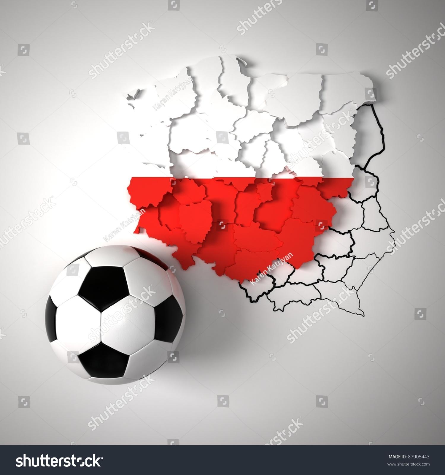 polish flag on map poland state stock illustration 87905443