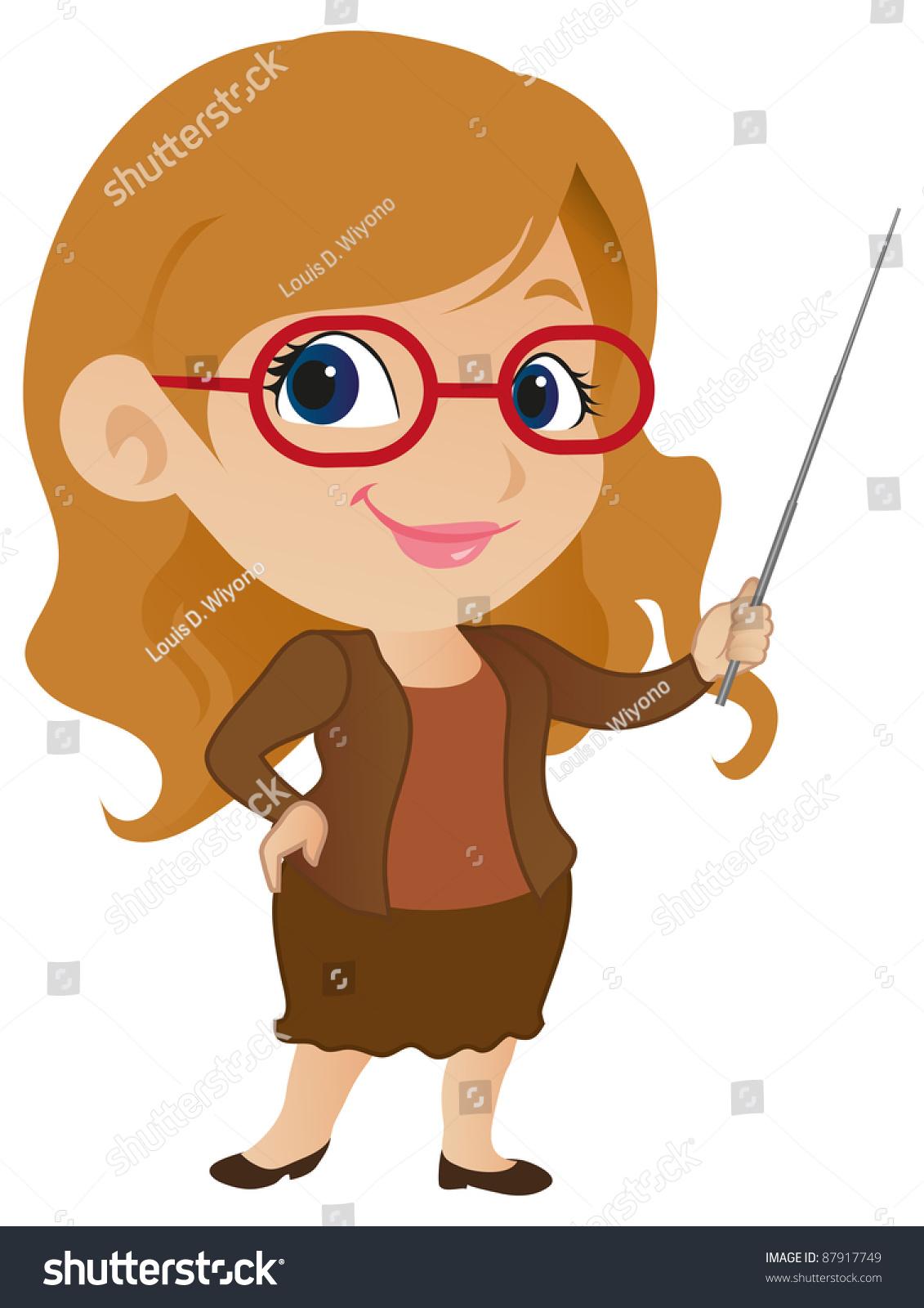 Cute Female Teacher Stock Vector Illustration 87917749 ...
