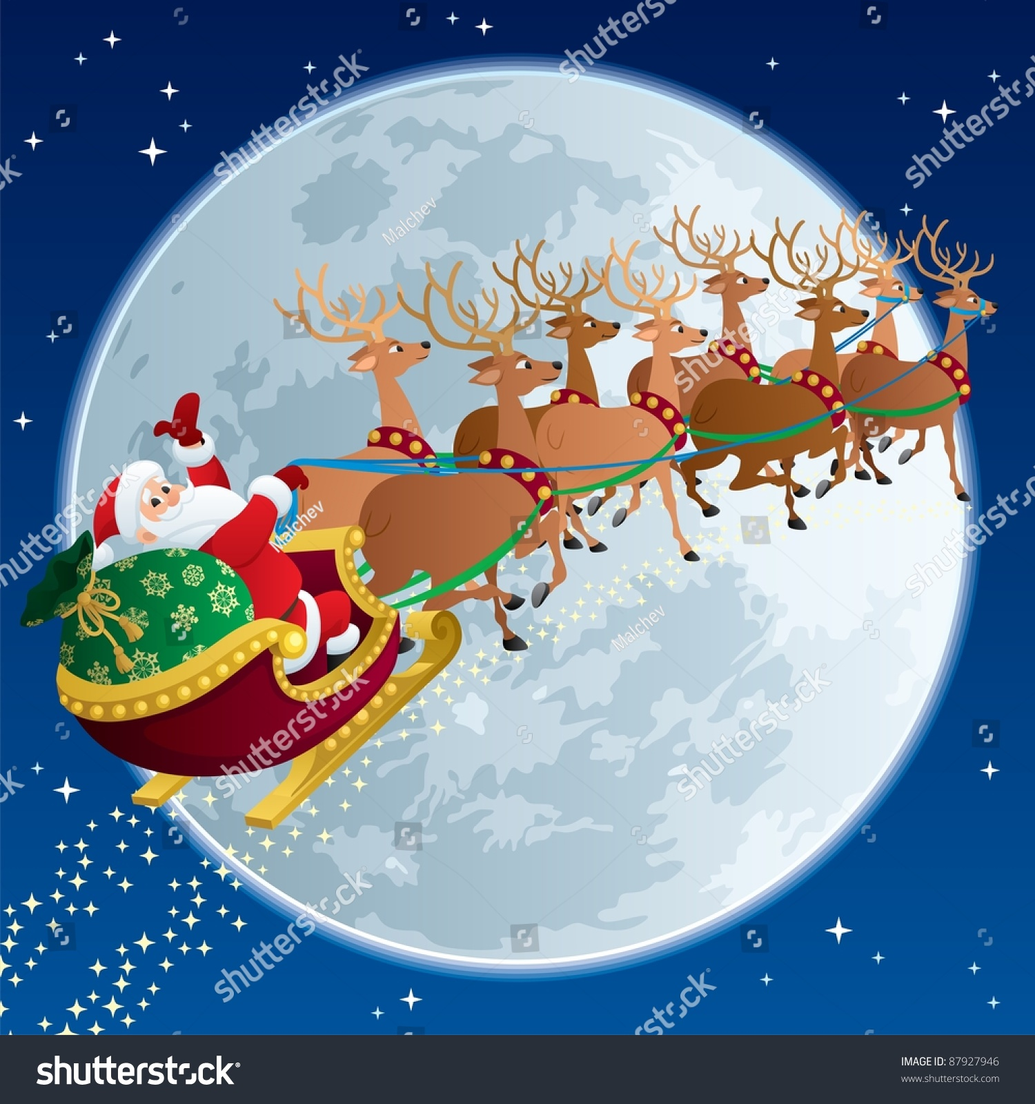 Santa Claus Flying In His Sleigh. Stock Vector ...