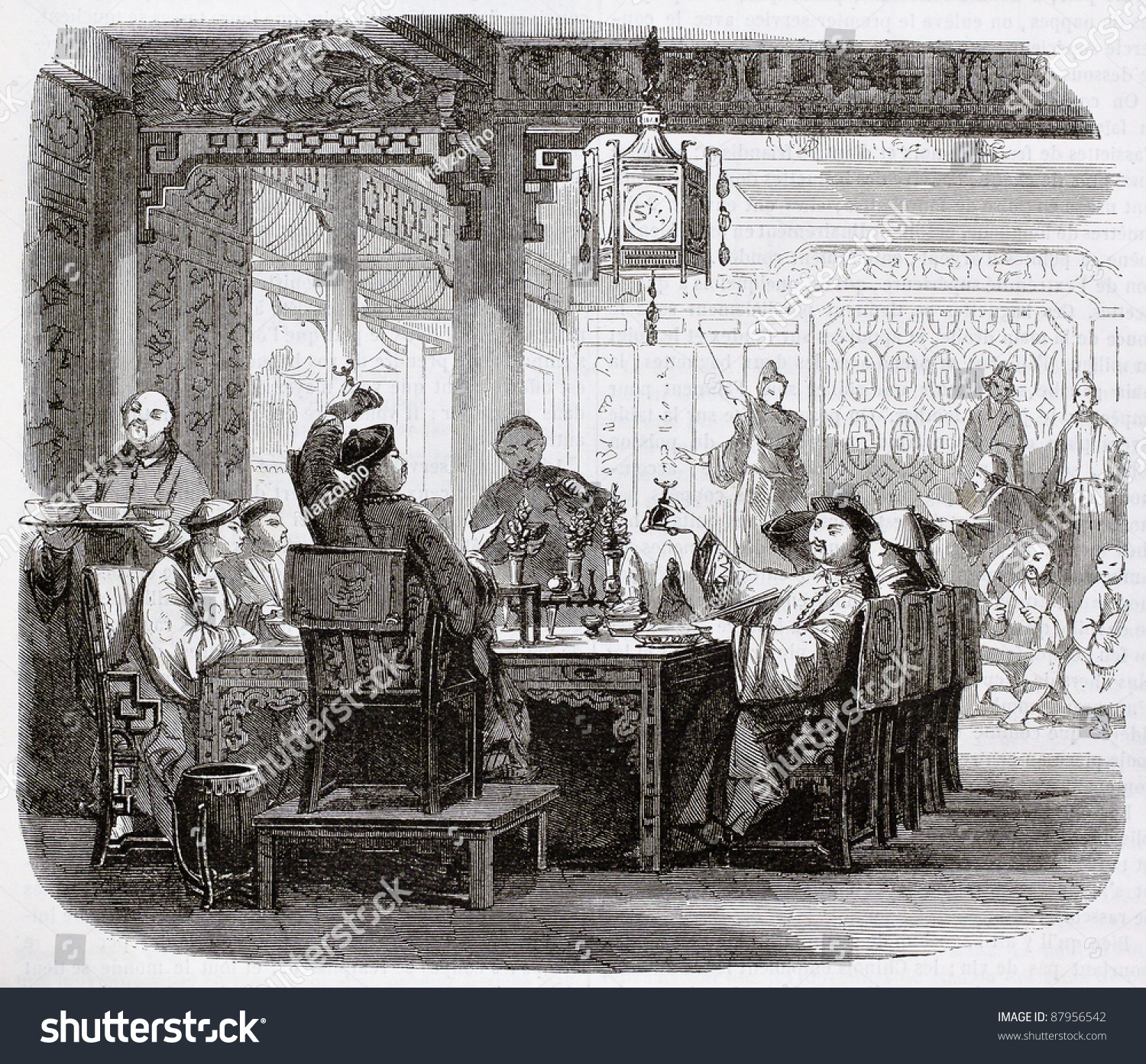 chinese meal old illustration by unidentified author published on magasin pittoresque paris. Black Bedroom Furniture Sets. Home Design Ideas
