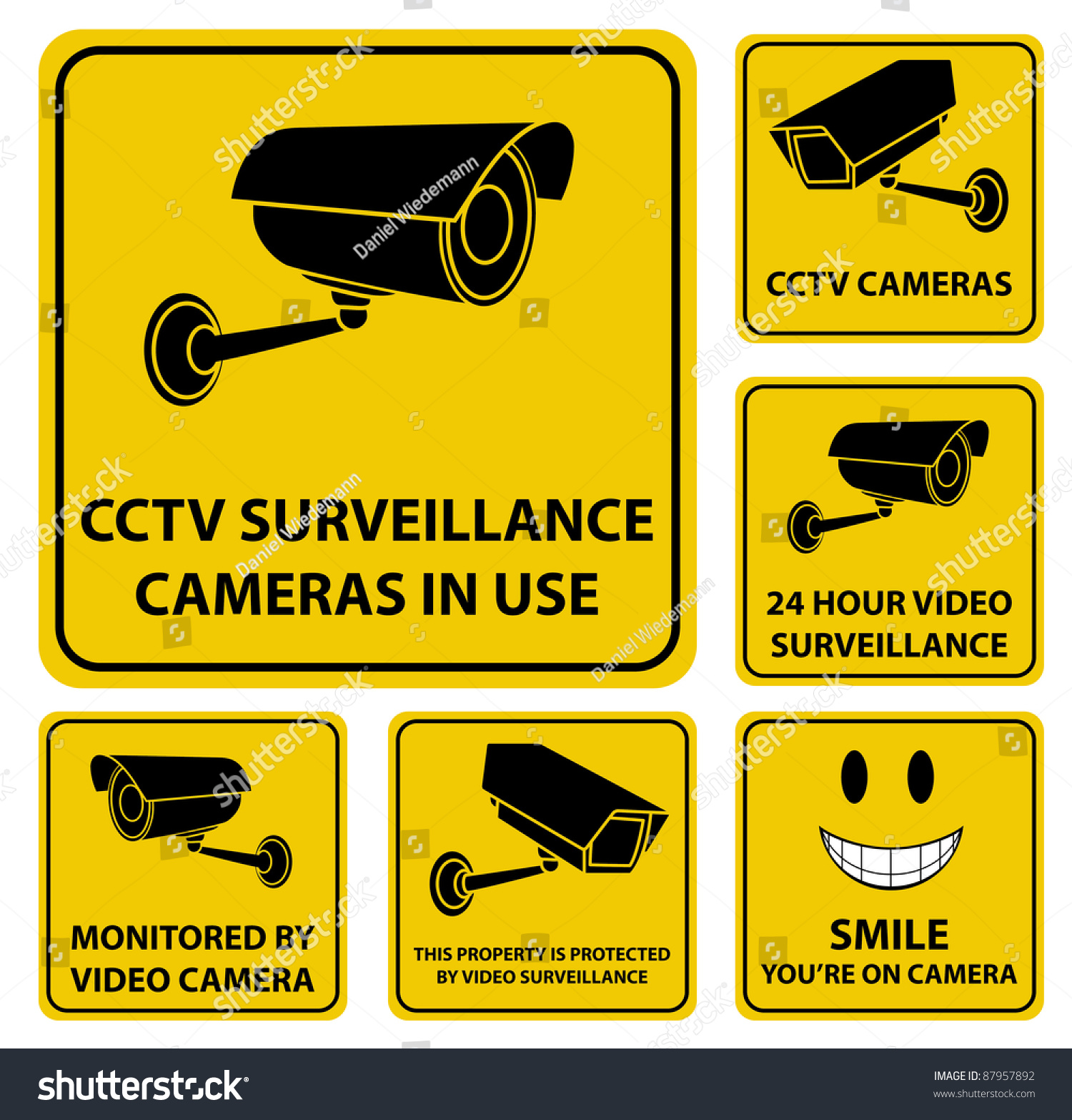 set vector surveillance cctv camera yellow stock vector 87957892 shutterstock. Black Bedroom Furniture Sets. Home Design Ideas