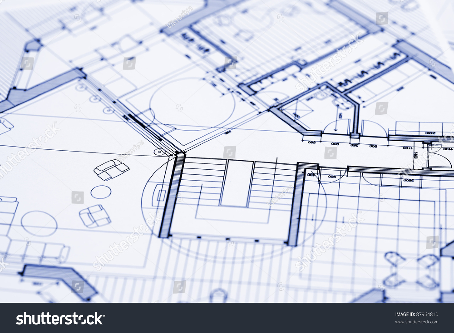 Blueprints professional architectural drawings stock photo for Architecture blueprint