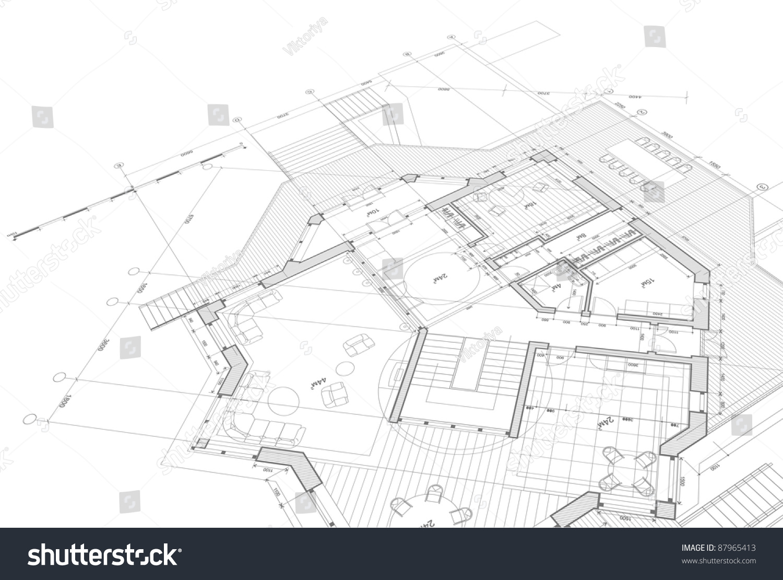 House plan blueprint bitmap copy my ilustraci n en stock for Copy architectural plans
