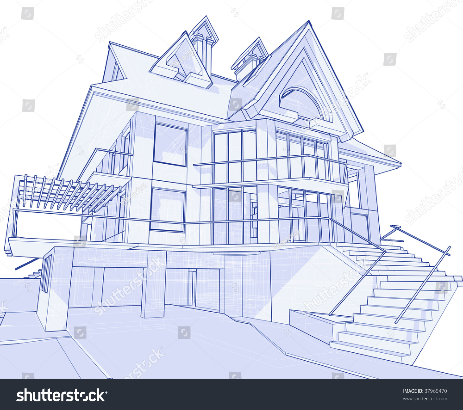 3d Blueprint House: Technical Draw. Bitmap Copy My Vector ID 17455729