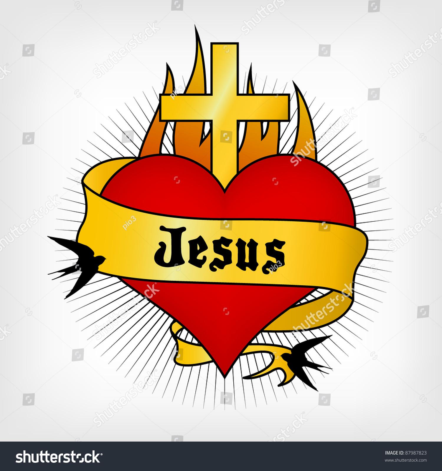 Heart Tattoo Sword Jesus Written On Stock-Vektorgrafik 87987823 ...