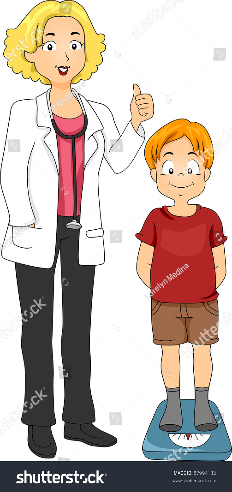 Measuring Weight Cartoon Illustration Of A Kid ...