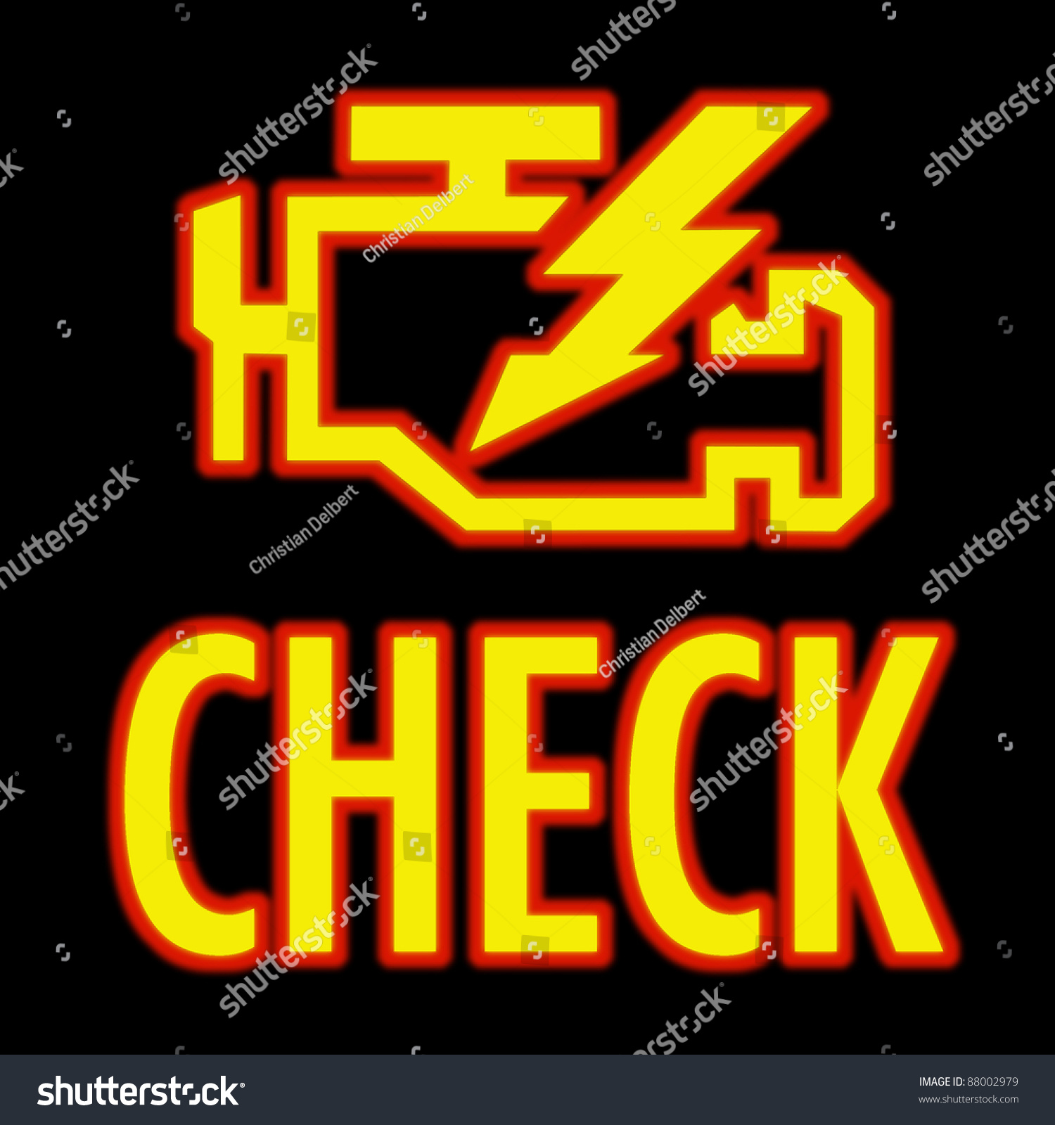 Check Engine Light Symbol That Pops Stock Photo 88002979