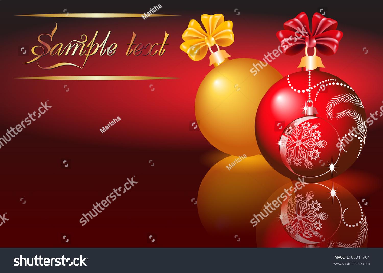 Christmas Card Red Yellow Balls Stock Vector 88011964 Shutterstock