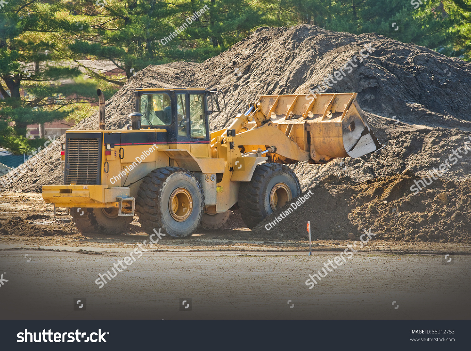 front end loader moving piles dirt stock photo 88012753 shutterstock