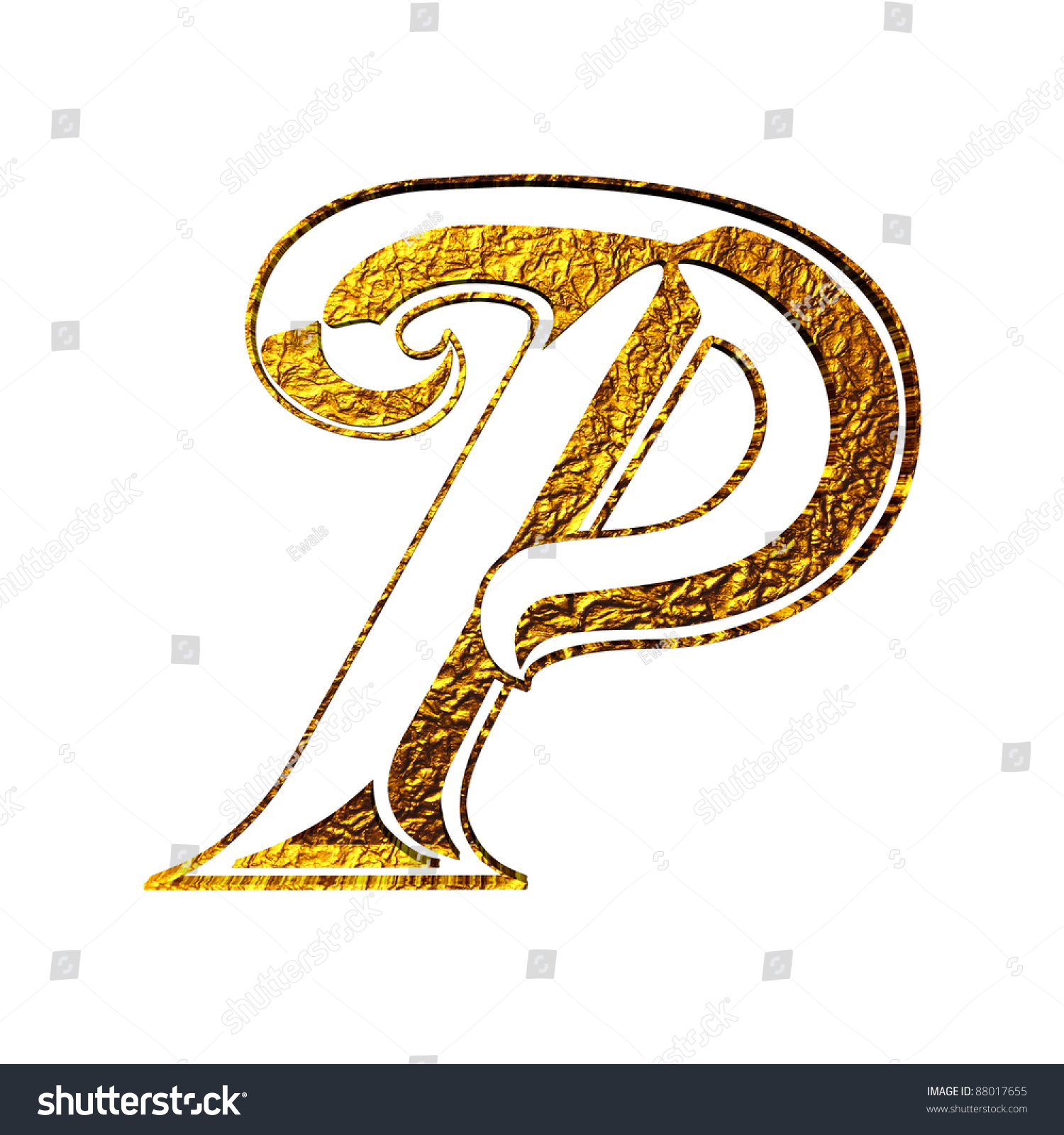 Vintage initial gold alphabet symbol p isolated on white stock photo