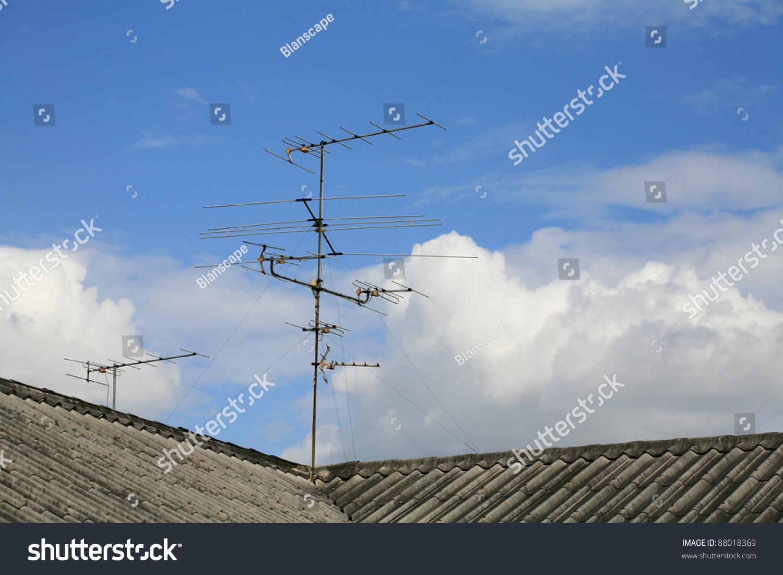 Astonishing Old House Tv Antenna On Roof Stock Photo Edit Now 88018369 Wiring Database Lukepterrageneticorg