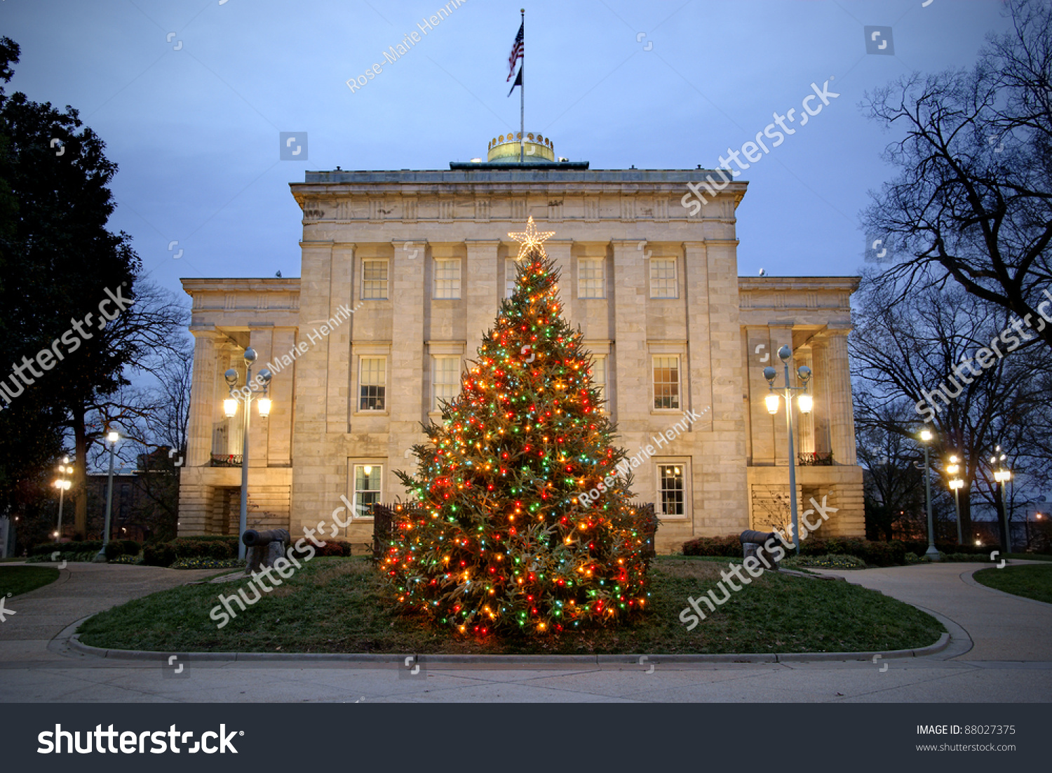 christmas tree front capitol raleigh north stock photo royalty free