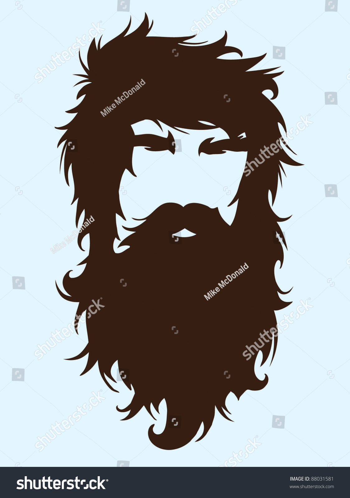 Bearded Man Silhouette Illustration With Long Hair ...